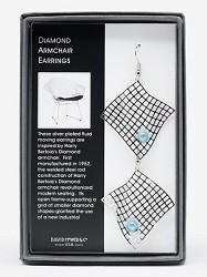 EARRINGS: DIAMOND ARMCHAIR WITH BLUE BEAD