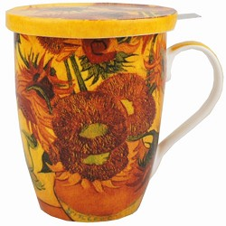 SUNFLOWERS- TEA MUG INFUSER W/ LID