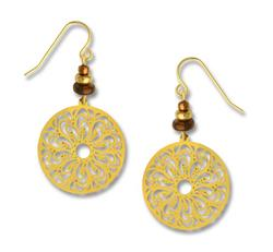 ADAJIO: GOLD COLORED LASER CUT DISK EARRINGS GOLD