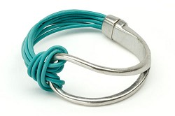 ORIGIN JEWELRY: MAGNETIC LEATHER BRACELET TURQUOISE