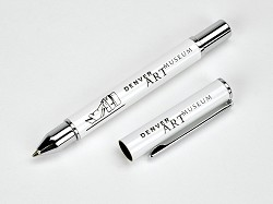 DENVER ART MUSEUM BRANDED WHITE SLEEK PEN WITH BOX,MP P18