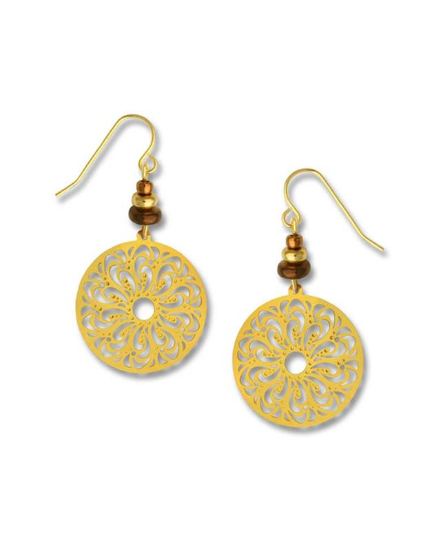 ADAJIO: GOLD COLORED LASER CUT DISK EARRINGS,7358