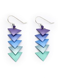 ADAJIO: PURPLE, BLUE AND TEAL DESCENDING TRIANGLE EARRING,7598