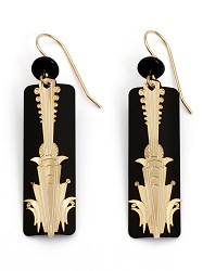 ADAJIO: GOLD PLATED ART DECO COLUMN OVER BLACK EARRING,7601