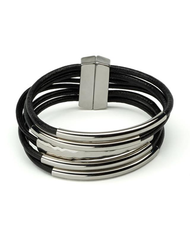 ORIGIN JEWELRY: MAGNETIC LEATHER TUBE BRACELET,6105-4