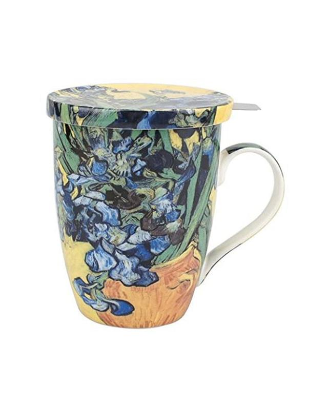 IRISES- TEA MUG INFUSER W/ LID,MC020111