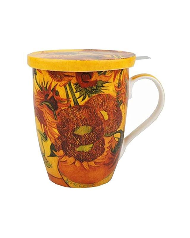 SUNFLOWERS- TEA MUG INFUSER W/ LID,MC020089