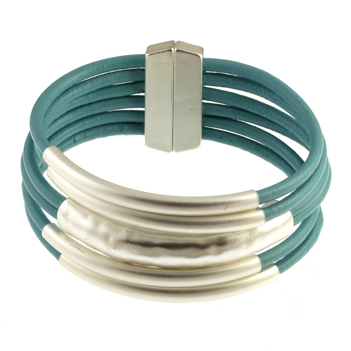 ORIGIN JEWELRY: MAGNETIC LEATHER TUBE BRACELET,6105-5