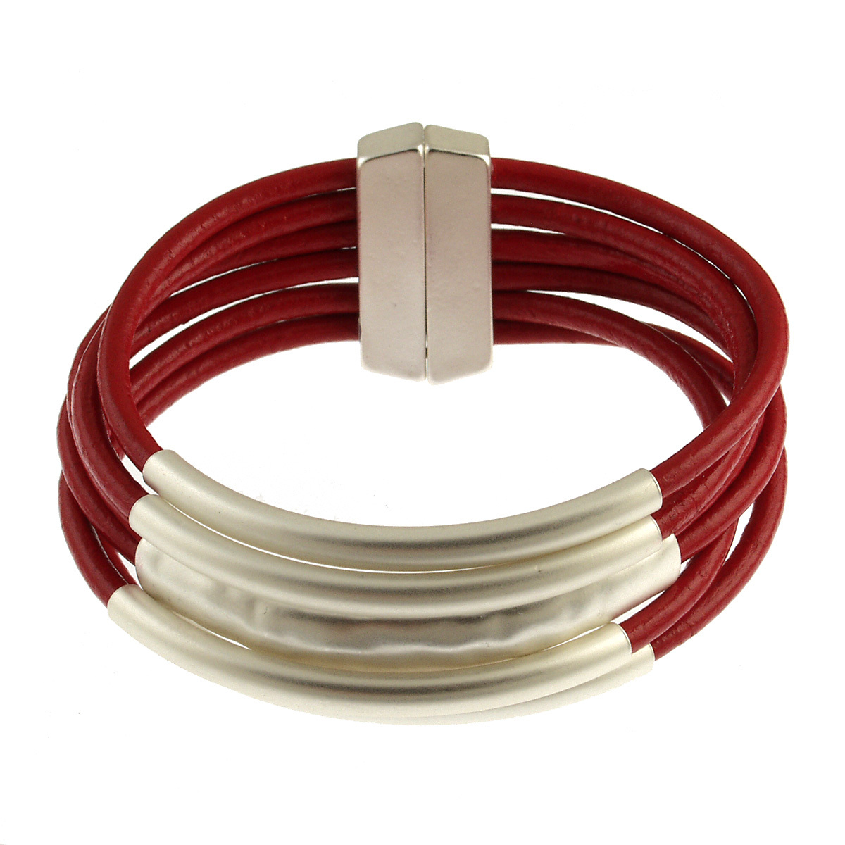 ORIGIN JEWELRY: MAGNETIC LEATHER TUBE BRACELET,6105-9