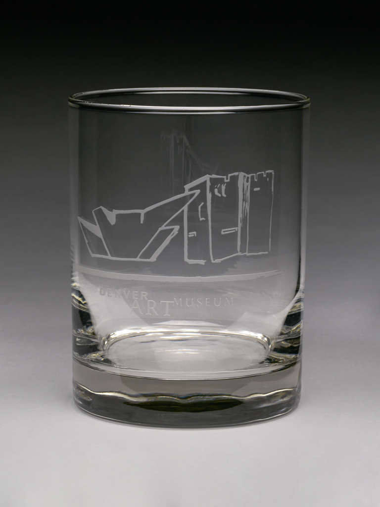 DENVER ART MUSEUM SATIN ETCHED GLASS WITH BUILDINGS