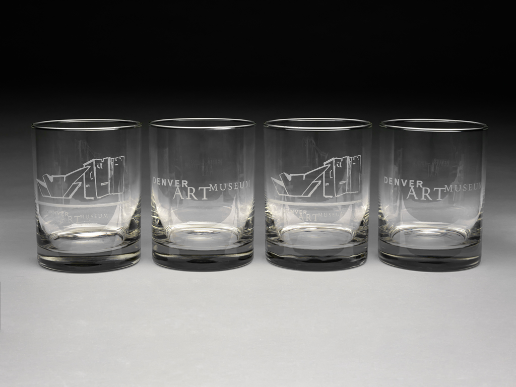 SET OF 4 DENVER ART MUSEUM BRANDED SATIN ETCHED GLASSES,2 LOGO 2 BUILDING